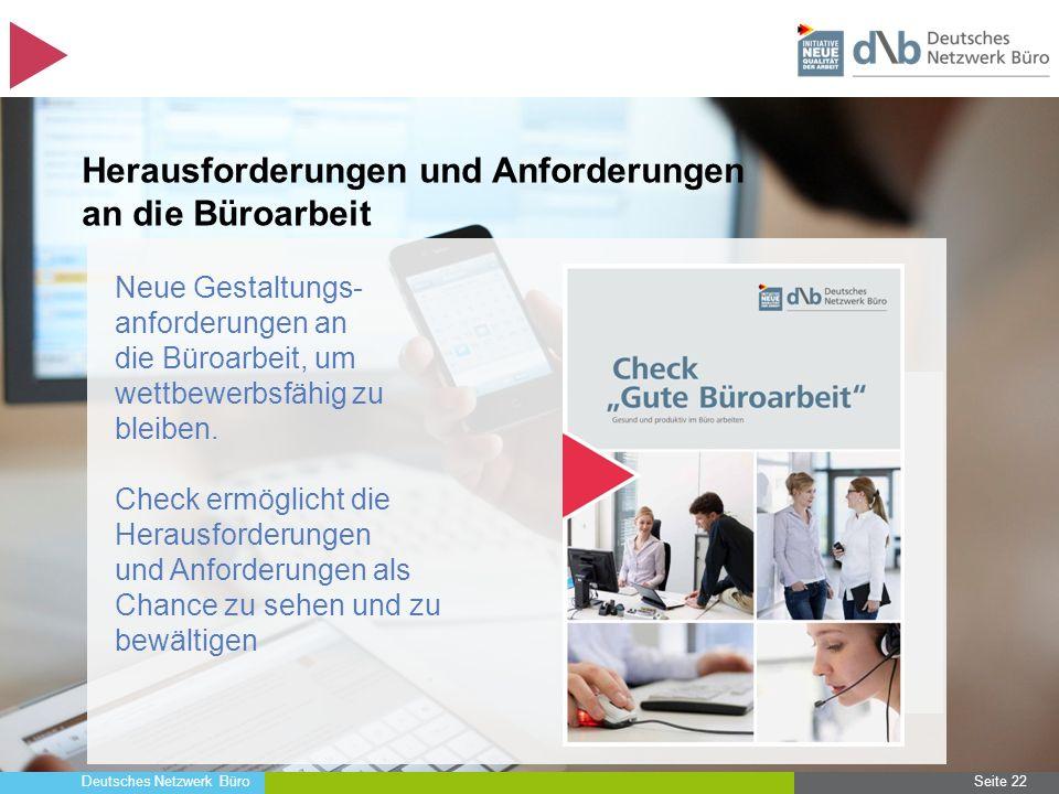 Deutsches Netzwerk Büro Seite 22 Herausforderungen und Anforderungen an die Büroarbeit Neue Gestaltungs- anforderungen an die Büroarbeit, um wettbewer