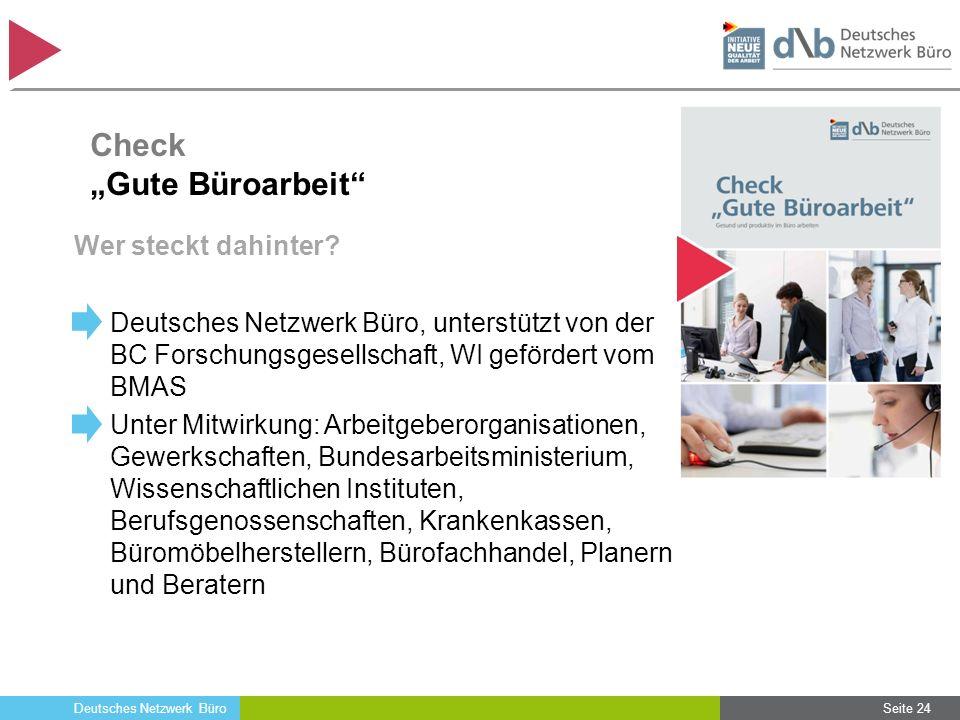 Deutsches Netzwerk Büro Wer steckt dahinter? Deutsches Netzwerk Büro, unterstützt von der BC Forschungsgesellschaft, WI gefördert vom BMAS Unter Mitwi