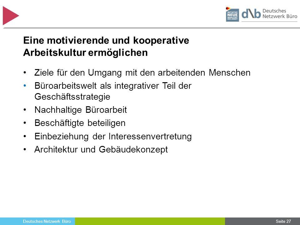 Deutsches Netzwerk Büro Eine motivierende und kooperative Arbeitskultur ermöglichen Ziele für den Umgang mit den arbeitenden Menschen Büroarbeitswelt