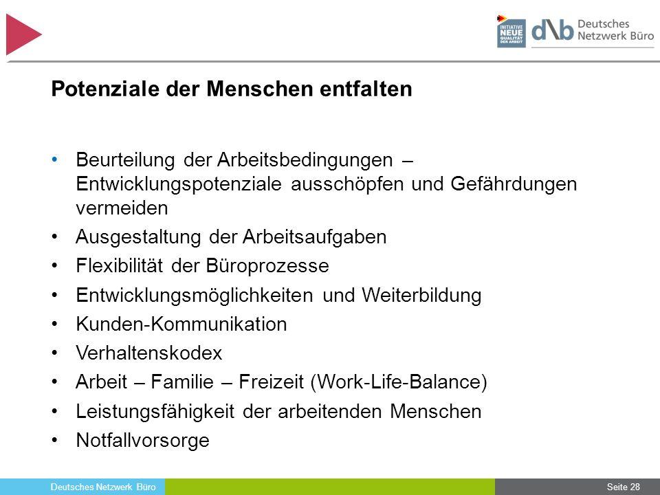 Deutsches Netzwerk Büro Potenziale der Menschen entfalten Beurteilung der Arbeitsbedingungen – Entwicklungspotenziale ausschöpfen und Gefährdungen ver