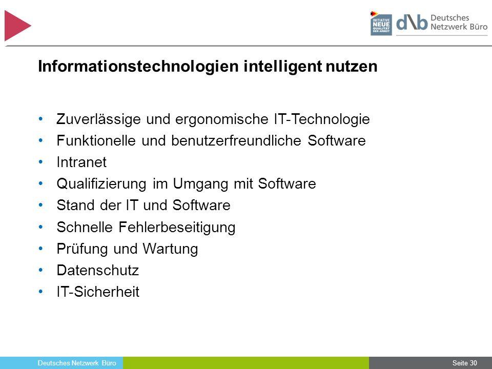 Deutsches Netzwerk Büro Informationstechnologien intelligent nutzen Zuverlässige und ergonomische IT-Technologie Funktionelle und benutzerfreundliche