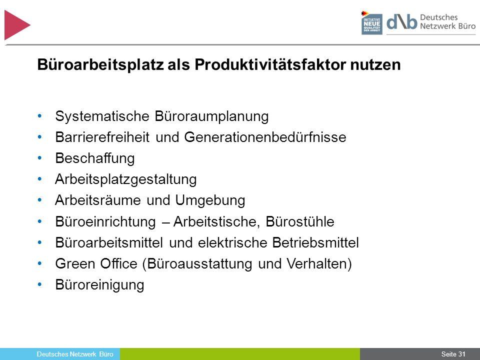 Deutsches Netzwerk Büro Büroarbeitsplatz als Produktivitätsfaktor nutzen Systematische Büroraumplanung Barrierefreiheit und Generationenbedürfnisse Be
