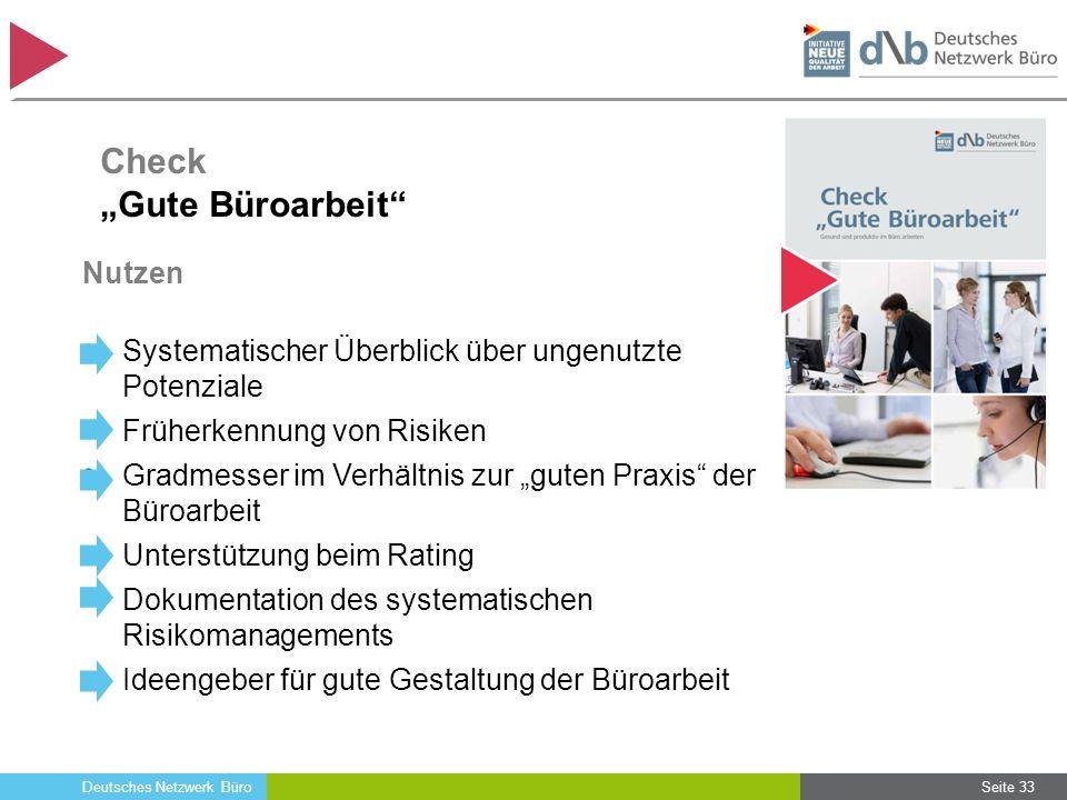 """Deutsches Netzwerk Büro Nutzen Systematischer Überblick über ungenutzte Potenziale Früherkennung von Risiken Gradmesser im Verhältnis zur """"guten Praxi"""