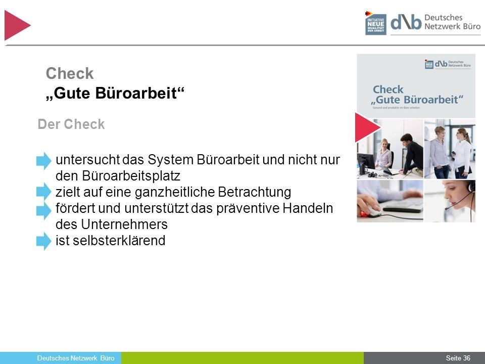 Deutsches Netzwerk Büro Der Check untersucht das System Büroarbeit und nicht nur den Büroarbeitsplatz zielt auf eine ganzheitliche Betrachtung fördert