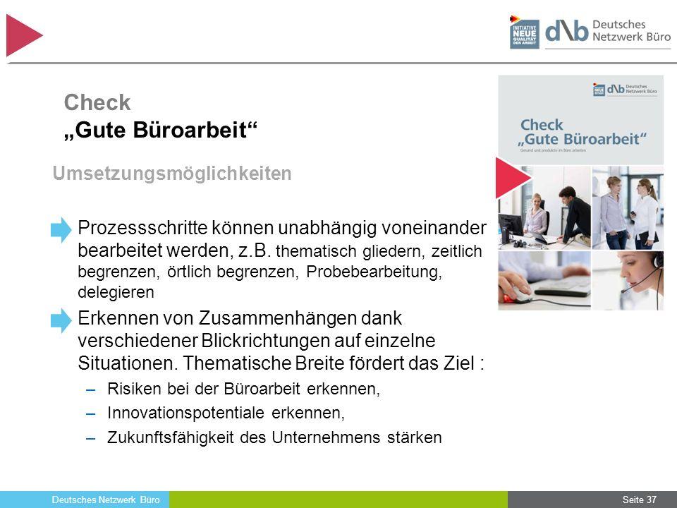 Deutsches Netzwerk Büro Umsetzungsmöglichkeiten Prozessschritte können unabhängig voneinander bearbeitet werden, z.B. thematisch gliedern, zeitlich be