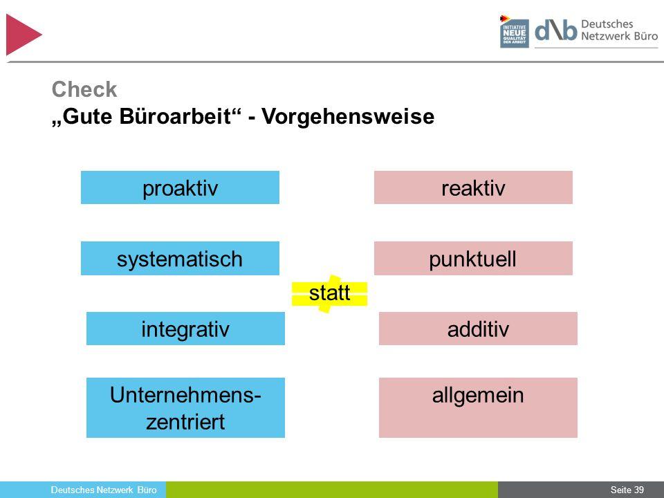 """Deutsches Netzwerk Büro Seite 39 proaktiv Check """"Gute Büroarbeit"""" - Vorgehensweise systematisch integrativ Unternehmens- zentriert reaktiv punktuell a"""