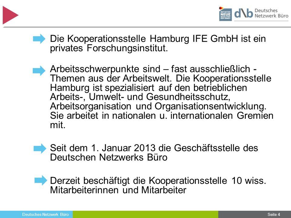 Deutsches Netzwerk Büro Seite 4 Die Kooperationsstelle Hamburg IFE GmbH ist ein privates Forschungsinstitut. Arbeitsschwerpunkte sind – fast ausschlie