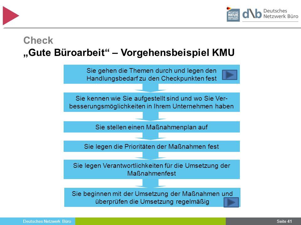 Deutsches Netzwerk Büro Seite 41 Sie gehen die Themen durch und legen den Handlungsbedarf zu den Checkpunkten fest Sie kennen wie Sie aufgestellt sind
