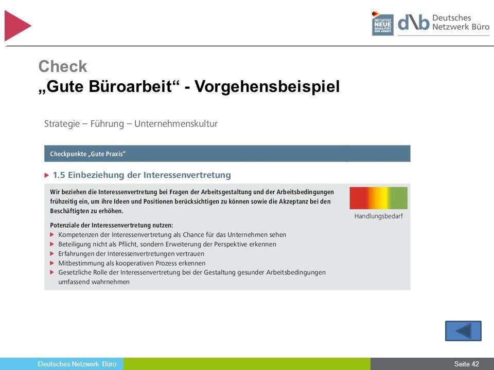 """Deutsches Netzwerk Büro Seite 42 Check """"Gute Büroarbeit"""" - Vorgehensbeispiel"""