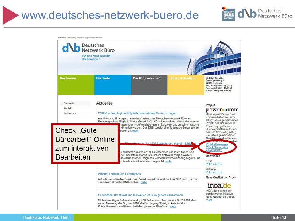 """Deutsches Netzwerk Büro Seite 43 www.deutsches-netzwerk-buero.de Check """"Gute Büroarbeit"""" Online zum interaktiven Bearbeiten Seite 43"""