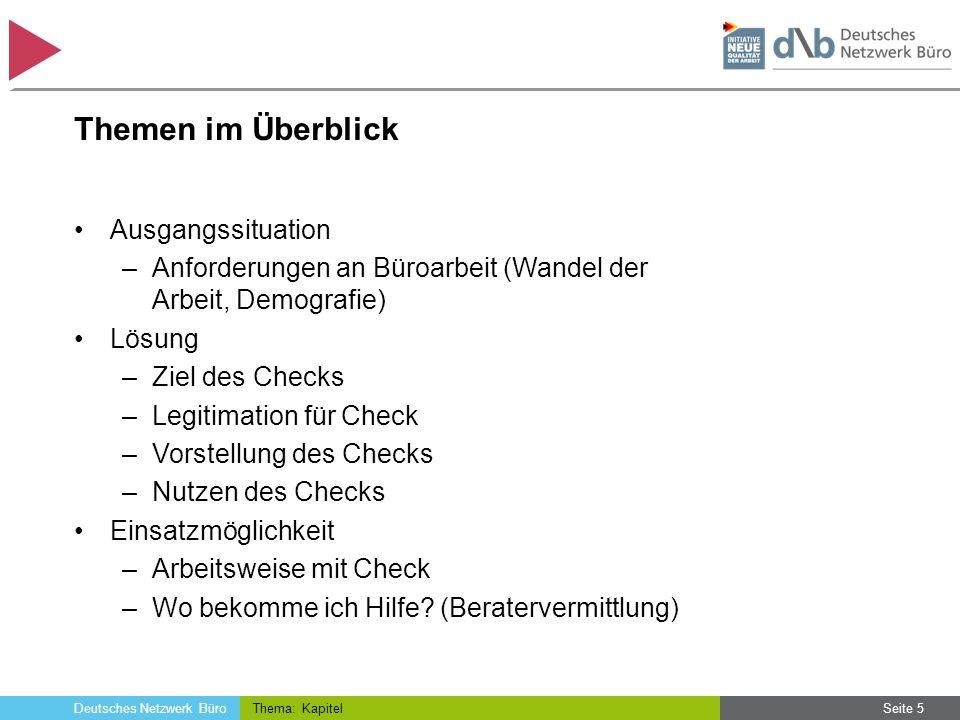 Deutsches Netzwerk Büro Themen im Überblick Ausgangssituation –Anforderungen an Büroarbeit (Wandel der Arbeit, Demografie) Lösung –Ziel des Checks –Le