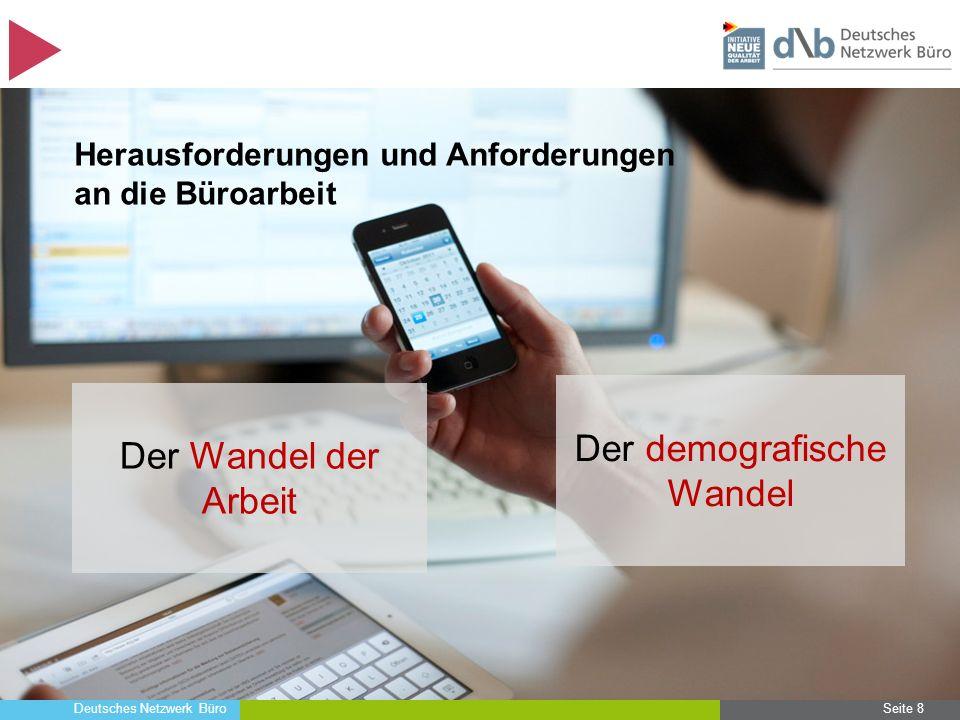 Deutsches Netzwerk Büro Seite 19 Herausforderungen und Anforderungen an die Büroarbeit Neue Gestaltungsanforderungen an die Büroarbeit, um wettbewerbsfähig zu bleiben Der Wandel der Arbeit Der demografische Wandel