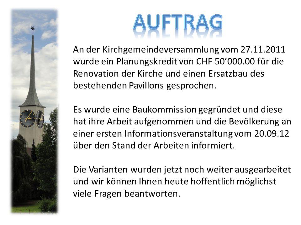 An der Kirchgemeindeversammlung vom 27.11.2011 wurde ein Planungskredit von CHF 50'000.00 für die Renovation der Kirche und einen Ersatzbau des bestehenden Pavillons gesprochen.