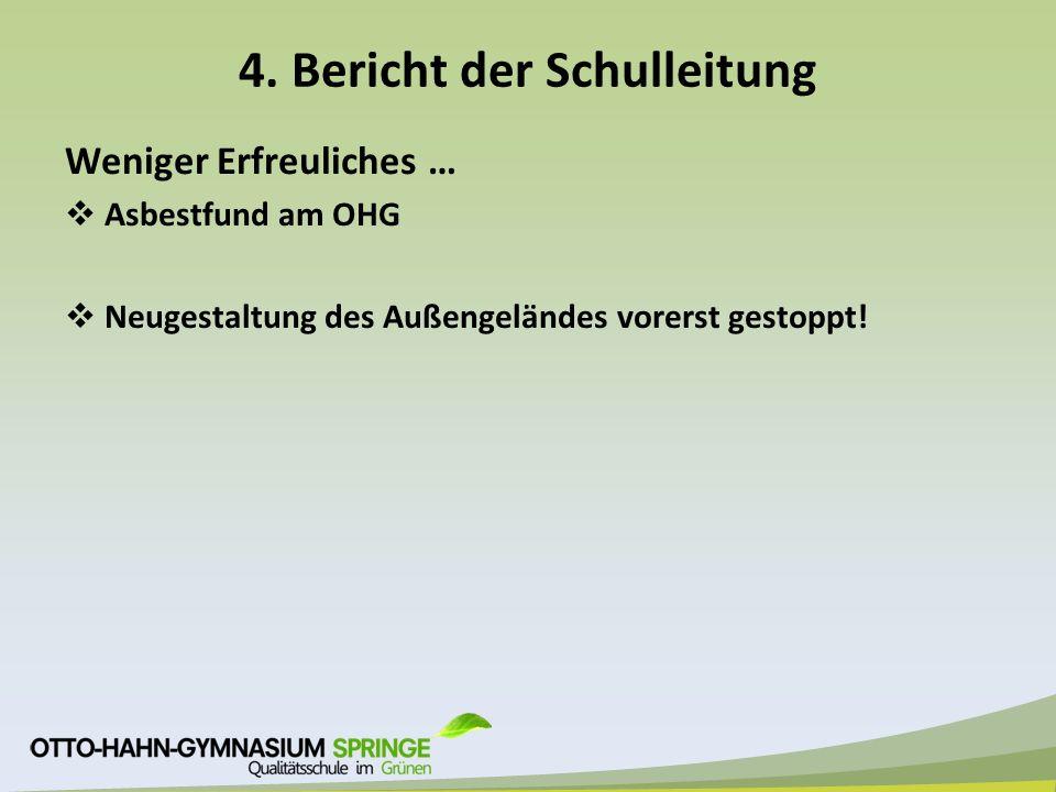4. Bericht der Schulleitung Weniger Erfreuliches …  Asbestfund am OHG  Neugestaltung des Außengeländes vorerst gestoppt!