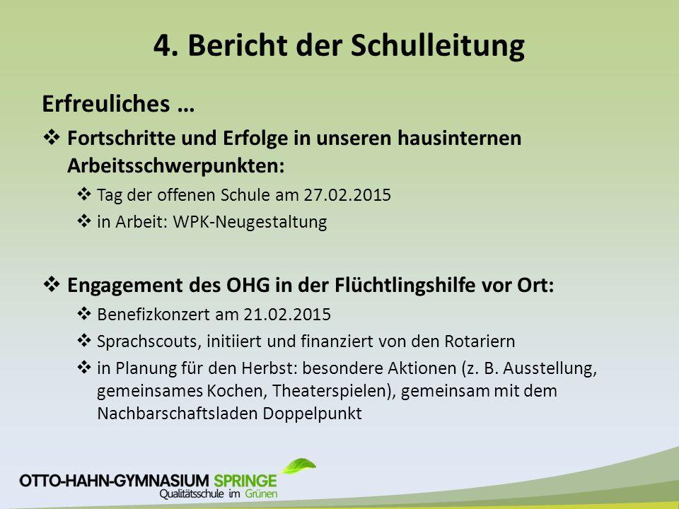 4. Bericht der Schulleitung Erfreuliches …  Fortschritte und Erfolge in unseren hausinternen Arbeitsschwerpunkten:  Tag der offenen Schule am 27.02.