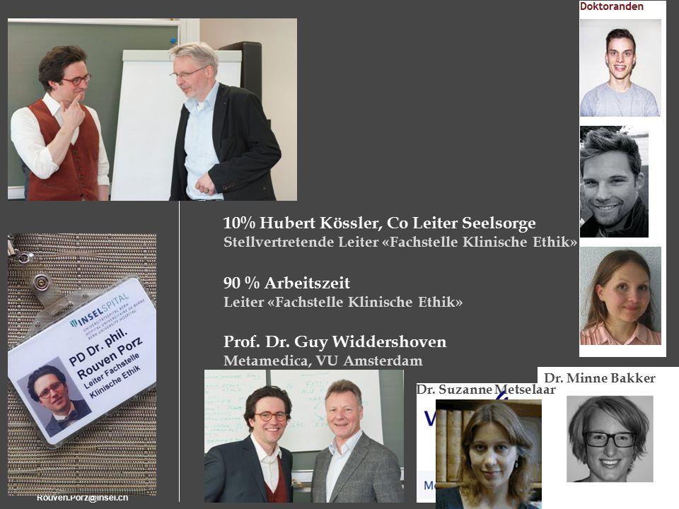 Rouven.Porz@insel.ch21 90 % Arbeitszeit Leiter «Fachstelle Klinische Ethik» 10% Hubert Kössler, Co Leiter Seelsorge Stellvertretende Leiter «Fachstelle Klinische Ethik» Prof.