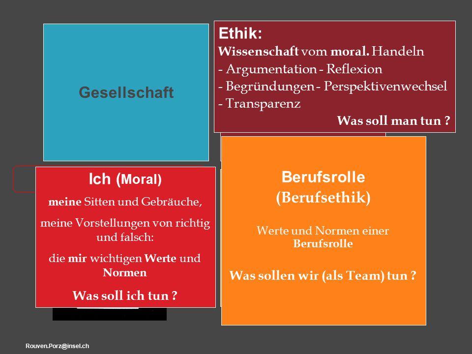 """Rouven.Porz@insel.ch8 """"Ethik Ich Ich ( Moral) meine Sitten und Gebräuche, meine Vorstellungen von richtig und falsch: die mir wichtigen Werte und Normen Was soll ich tun ."""
