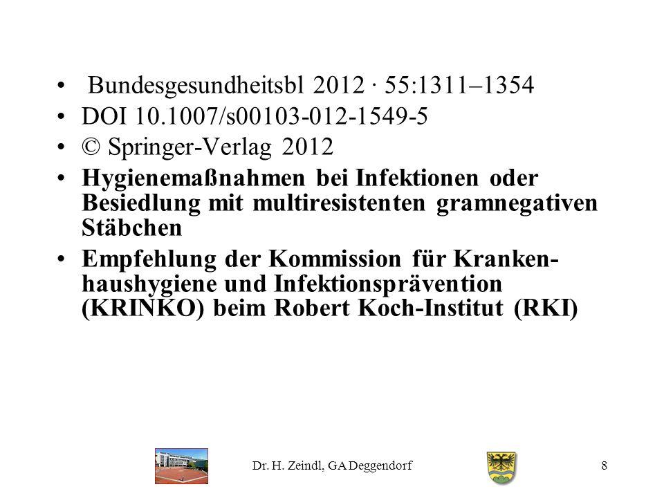 Dr. H. Zeindl, GA Deggendorf8 Bundesgesundheitsbl 2012 · 55:1311–1354 DOI 10.1007/s00103-012-1549-5 © Springer-Verlag 2012 Hygienemaßnahmen bei Infekt