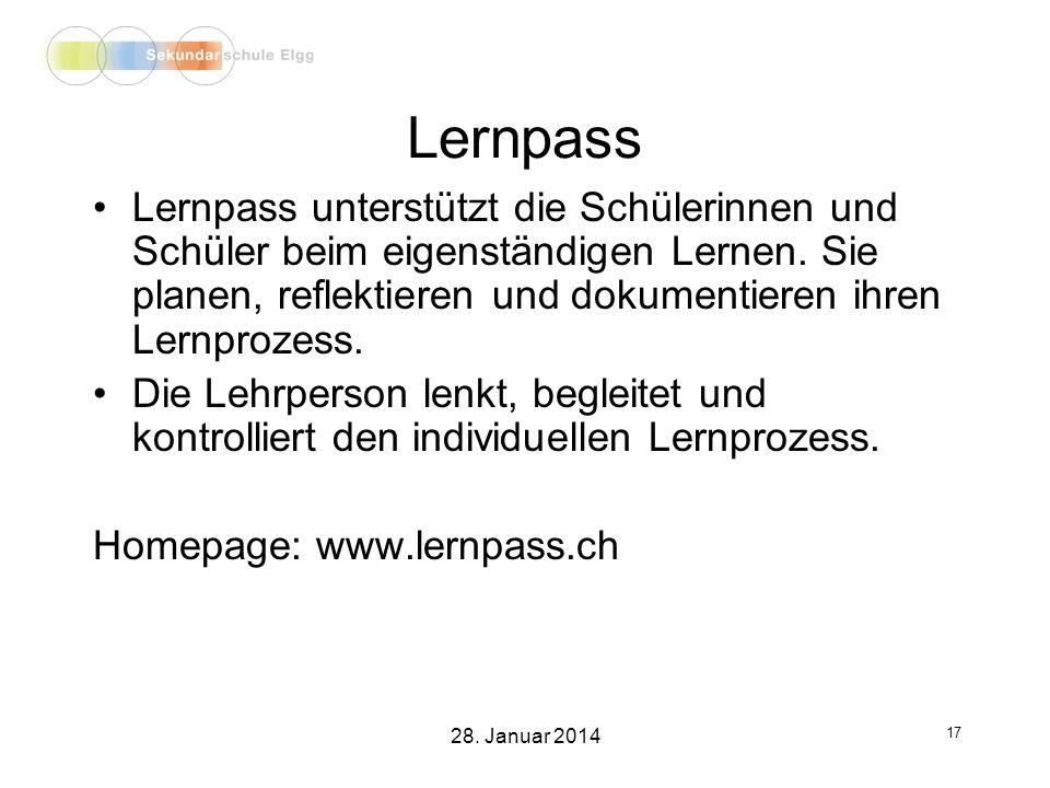 Lernpass Lernpass unterstützt die Schülerinnen und Schüler beim eigenständigen Lernen.
