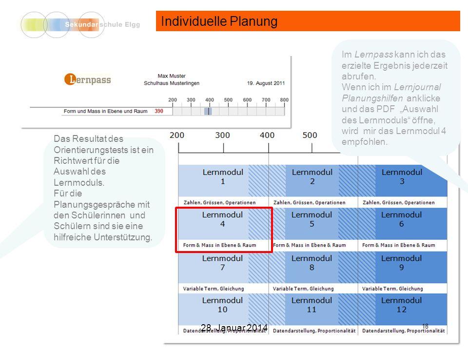 Individuelle Planung Das Resultat des Orientierungstests ist ein Richtwert für die Auswahl des Lernmoduls.