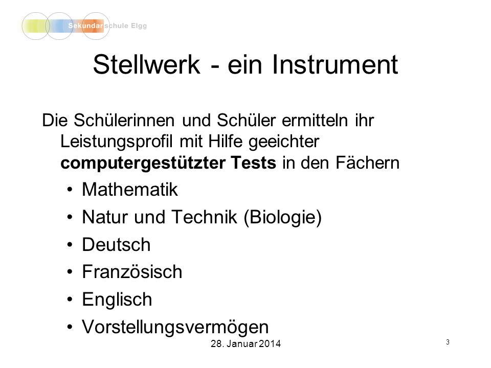 Stellwerk - ein Instrument Die Schülerinnen und Schüler ermitteln ihr Leistungsprofil mit Hilfe geeichter computergestützter Tests in den Fächern Mathematik Natur und Technik (Biologie) Deutsch Französisch Englisch Vorstellungsvermögen 3 28.