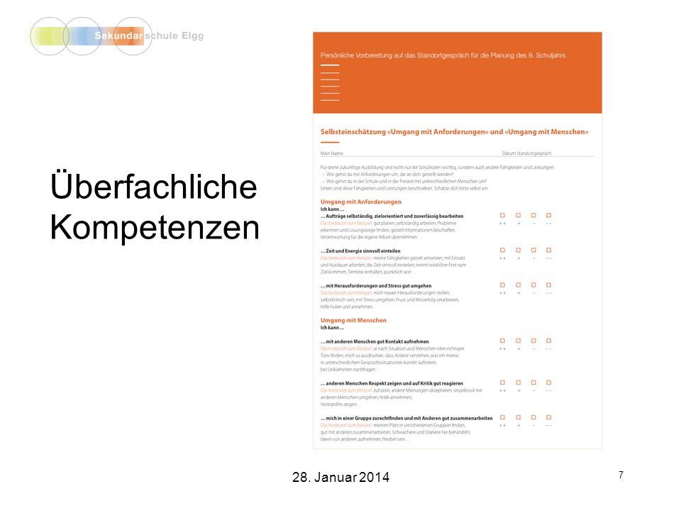 Fachliche Ziel- setzungen 8 28. Januar 2014
