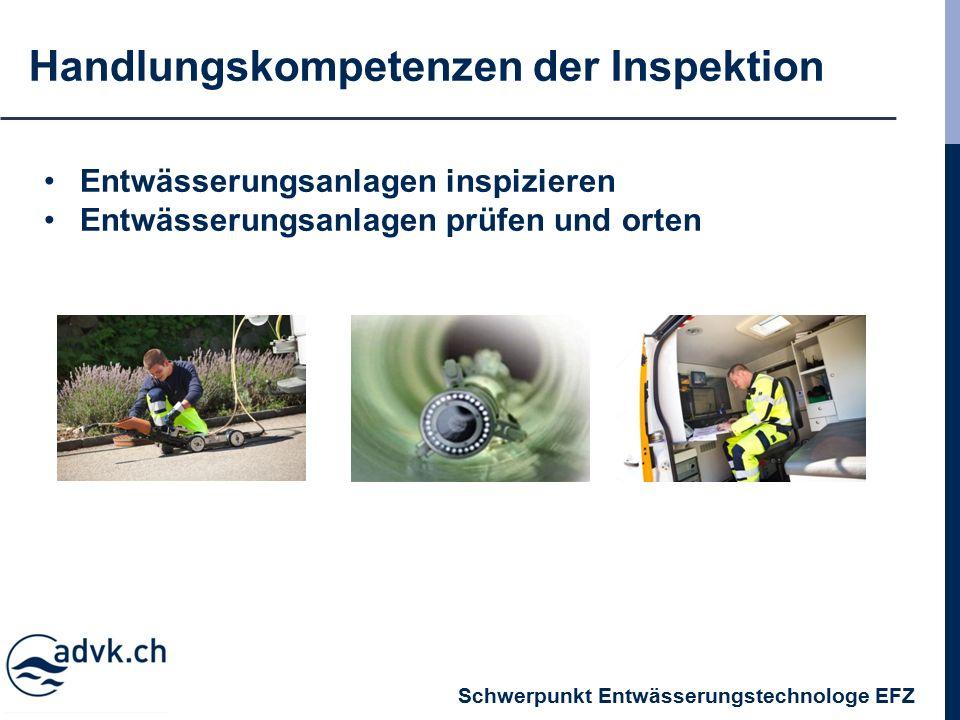 Handlungskompetenzen der Inspektion Entwässerungsanlagen inspizieren Entwässerungsanlagen prüfen und orten Schwerpunkt Entwässerungstechnologe EFZ