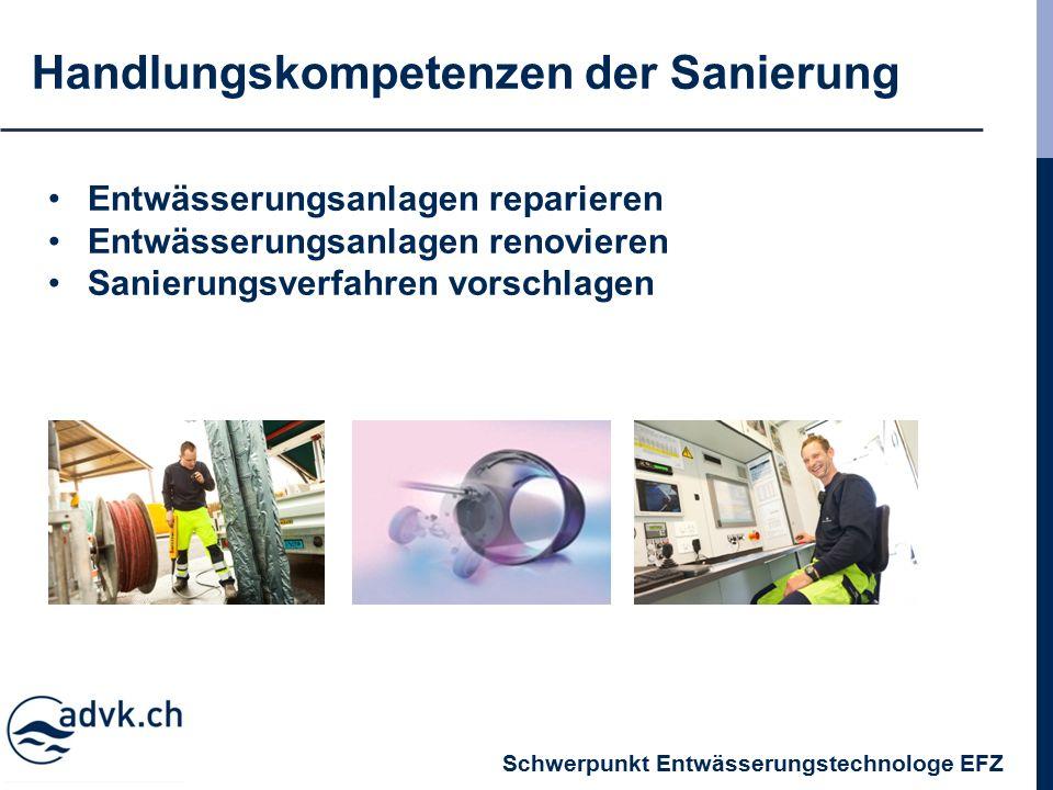 Handlungskompetenzen der Sanierung Entwässerungsanlagen reparieren Entwässerungsanlagen renovieren Sanierungsverfahren vorschlagen Schwerpunkt Entwässerungstechnologe EFZ