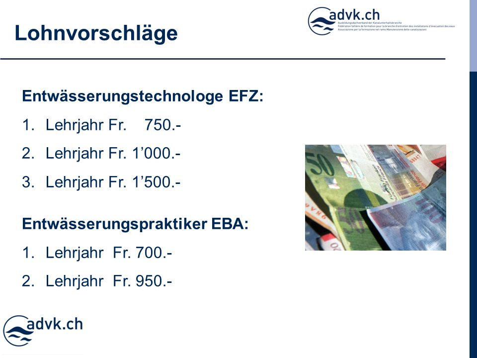 Lohnvorschläge Entwässerungstechnologe EFZ: 1.Lehrjahr Fr.