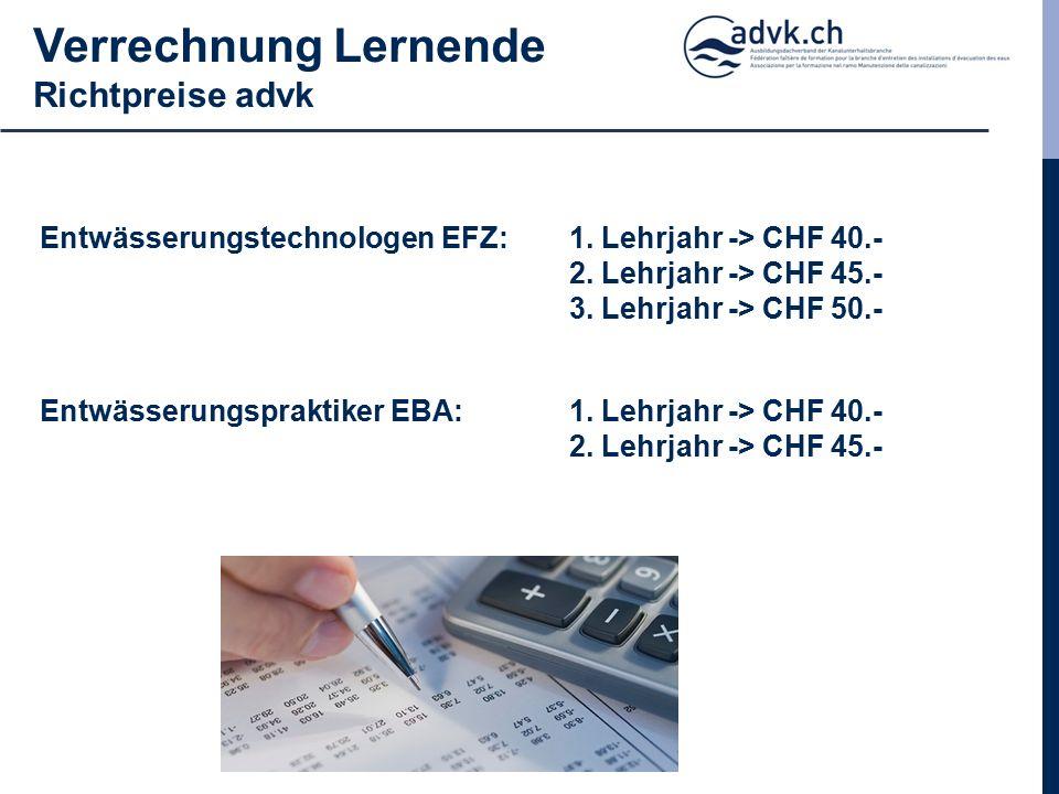 Verrechnung Lernende Richtpreise advk Entwässerungstechnologen EFZ: 1.