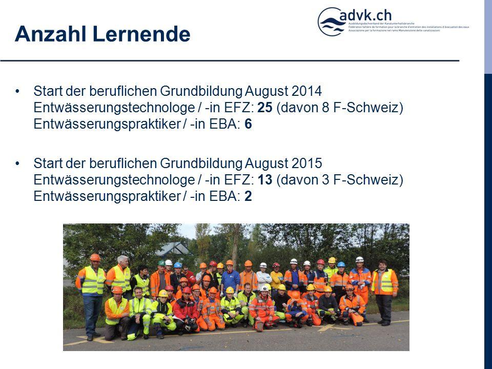 Start der beruflichen Grundbildung August 2014 Entwässerungstechnologe / -in EFZ: 25 (davon 8 F-Schweiz) Entwässerungspraktiker / -in EBA: 6 Start der beruflichen Grundbildung August 2015 Entwässerungstechnologe / -in EFZ: 13 (davon 3 F-Schweiz) Entwässerungspraktiker / -in EBA: 2 Anzahl Lernende