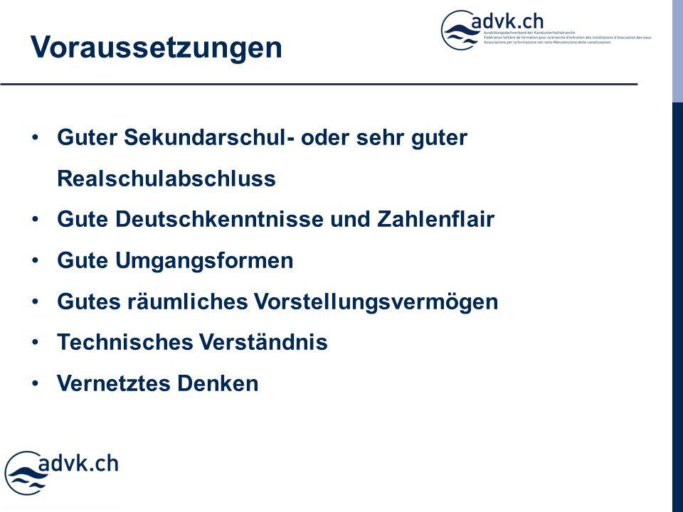 Voraussetzungen Guter Sekundarschul- oder sehr guter Realschulabschluss Gute Deutschkenntnisse und Zahlenflair Gute Umgangsformen Gutes räumliches Vorstellungsvermögen Technisches Verständnis Vernetztes Denken