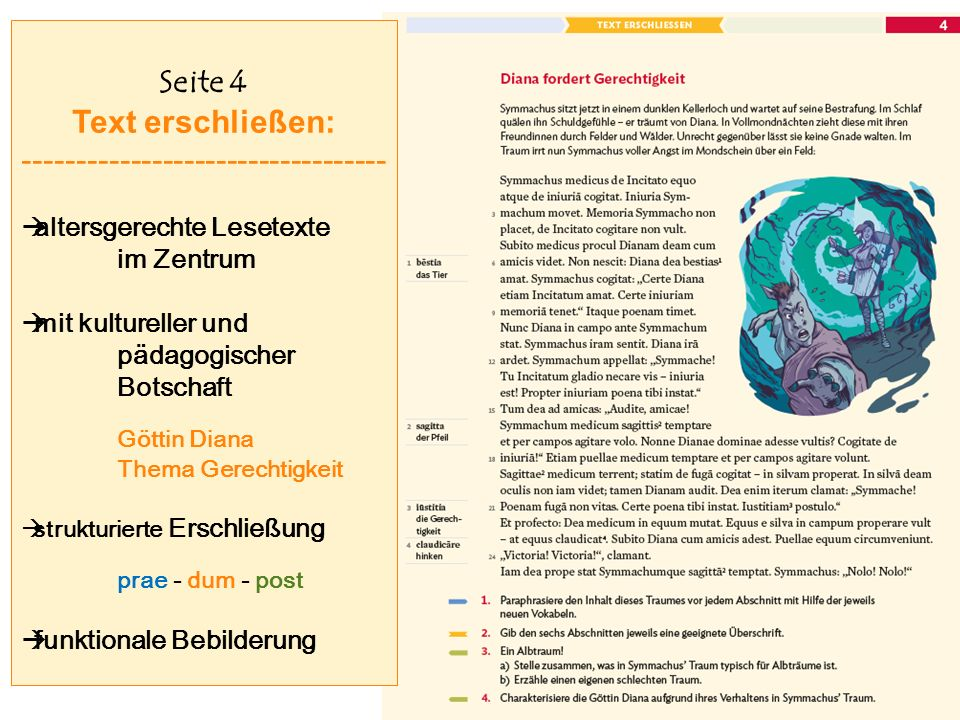 Seite 4 Text erschließen: ----------------------------------  altersgerechte Lesetexte im Zentrum  mit kultureller und pädagogischer Botschaft Göttin Diana Thema Gerechtigkeit  strukturierte Erschließung prae - dum - post  funktionale Bebilderung