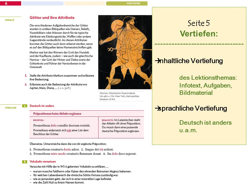 Seite 5 Vertiefen: --------------------------------  inhaltliche Vertiefung des Lektionsthemas: Infotext, Aufgaben, Bildmaterial  sprachliche Vertiefung Deutsch ist anders u.a.m.