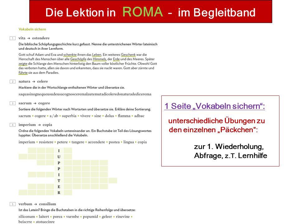 """Die Lektion in ROMA – im Begleitband 1 Seite """"Vokabeln sichern : unterschiedliche Übungen zu den einzelnen """"Päckchen : zur 1."""