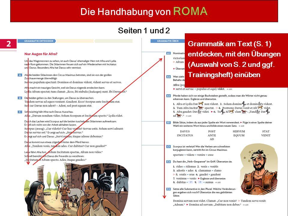 Die Handhabung von ROMA Seiten 1 und 2 Grammatik am Text (S.