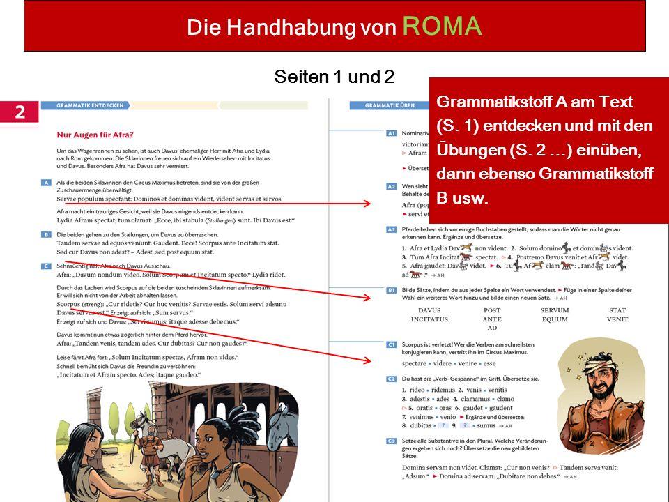 Die Handhabung von ROMA Seiten 1 und 2 Grammatikstoff A am Text (S.