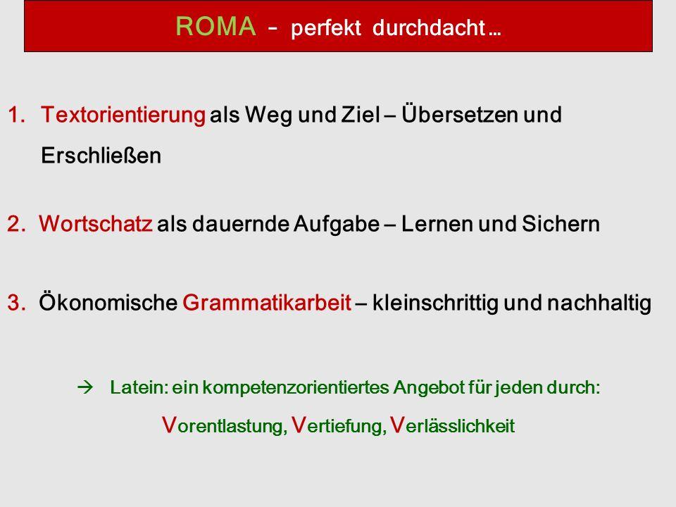 ROMA – perfekt durchdacht … 1.Textorientierung als Weg und Ziel – Übersetzen und Erschließen 2.