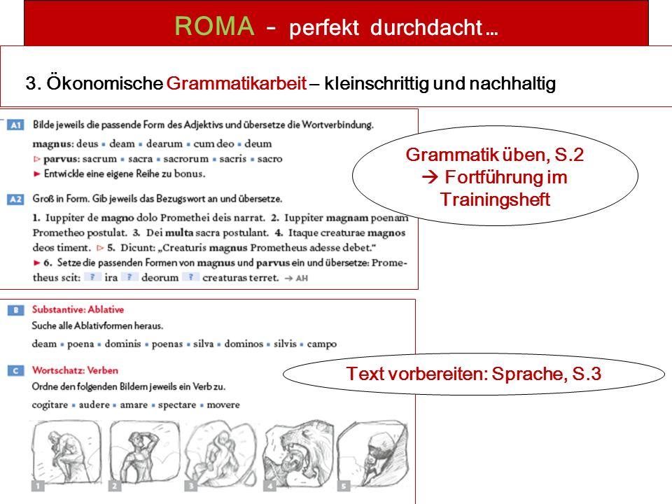 ROMA – perfekt durchdacht … Grammatik üben, S.2  Fortführung im Trainingsheft Text vorbereiten: Sprache, S.3 3.