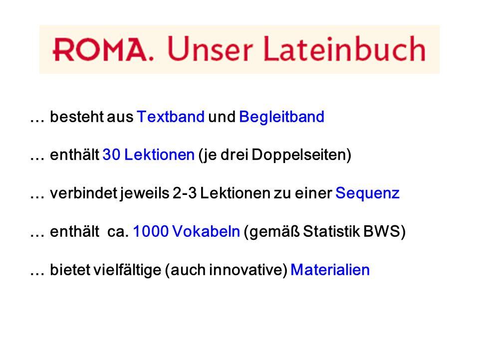 """Die Lektion in ROMA – im Begleitband 1 Doppelseite Wortschatz: - Wiederholungwörter - Lernwörter : > in 4-5 """"Päckchen (je 7-8 Wörter) > Spalten abdeckbar"""