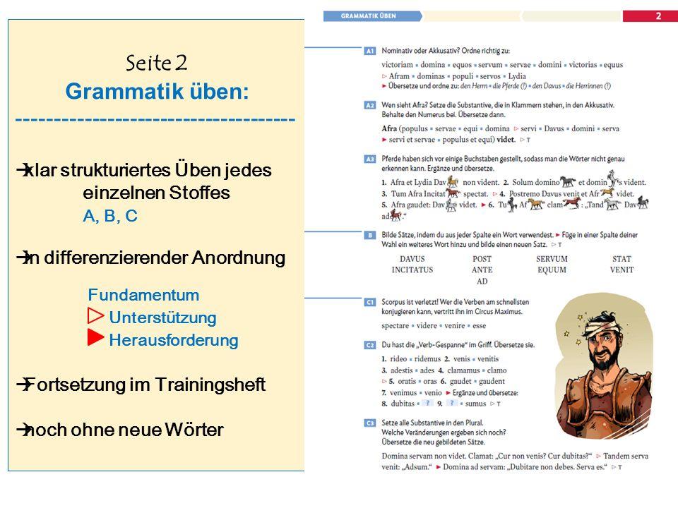 Seite 2 Grammatik üben: -------------------------------------  klar strukturiertes Üben jedes einzelnen Stoffes A, B, C  in differenzierender Anordnung Fundamentum Unterstützung Herausforderung  Fortsetzung im Trainingsheft  noch ohne neue Wörter