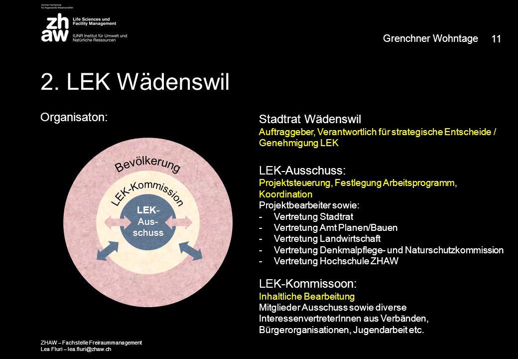2. LEK Wädenswil Organisaton: LEK- Aus- schuss Stadtrat Wädenswil Auftraggeber, Verantwortlich für strategische Entscheide / Genehmigung LEK LEK-Aussc