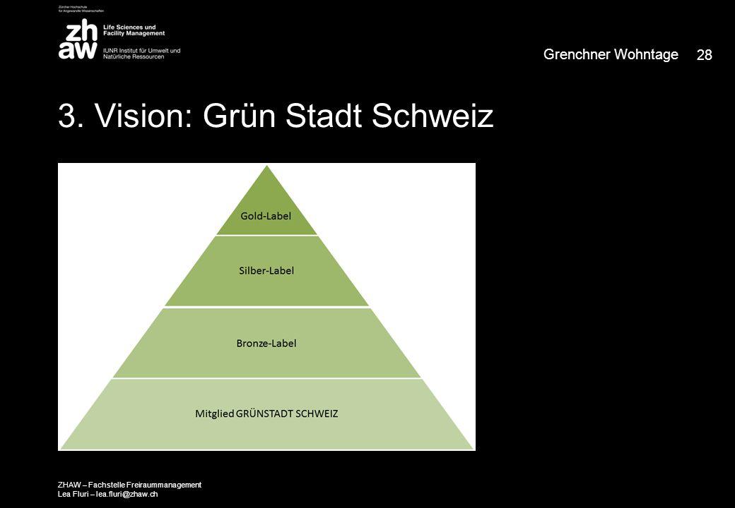 3. Vision: Grün Stadt Schweiz Grenchner Wohntage 28 ZHAW – Fachstelle Freiraummanagement Lea Fluri – lea.fluri@zhaw.ch