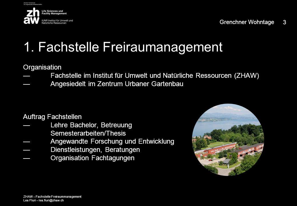 1. Fachstelle Freiraumanagement Organisation — Fachstelle im Institut für Umwelt und Natürliche Ressourcen (ZHAW) — Angesiedelt im Zentrum Urbaner Gar