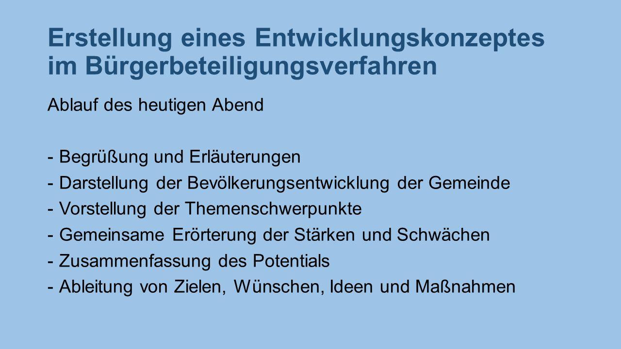 Erstellung eines Entwicklungskonzeptes im Bürgerbeteiligungsverfahren Ablauf des heutigen Abend -Begrüßung und Erläuterungen -Darstellung der Bevölker