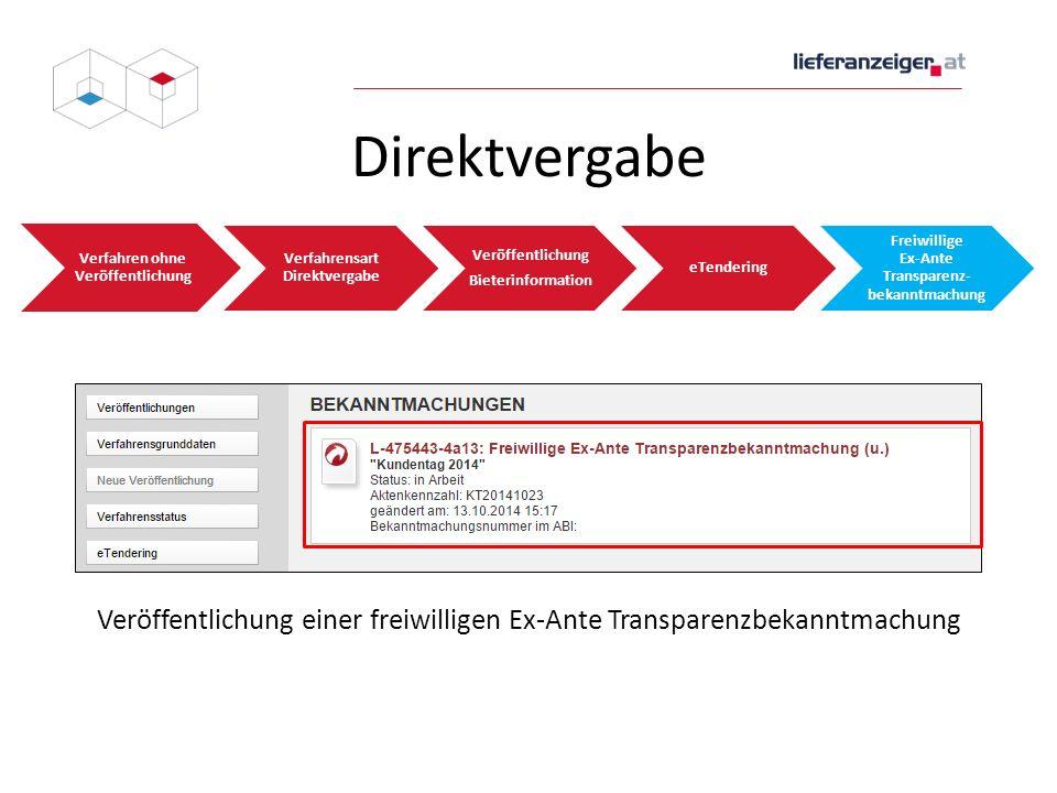 Direktvergabe Verfahren ohne Veröffentlichung Verfahrensart Direktvergabe Veröffentlichung Bieterinformation eTendering Freiwillige Ex-Ante Transparen