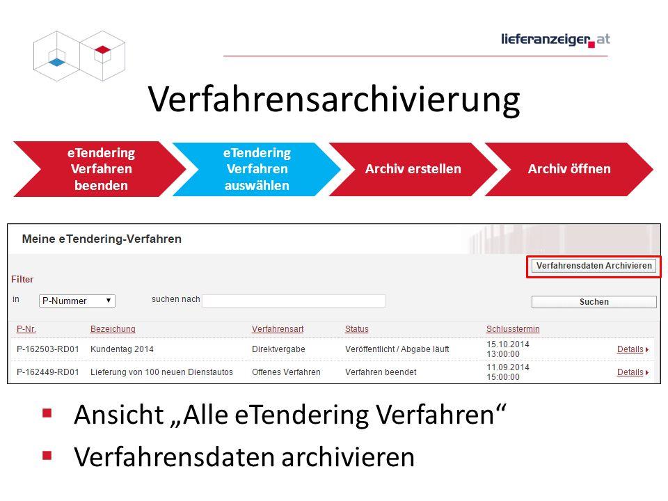 """Verfahrensarchivierung eTendering Verfahren beenden eTendering Verfahren auswählen Archiv erstellenArchiv öffnen  Ansicht """"Alle eTendering Verfahren"""""""