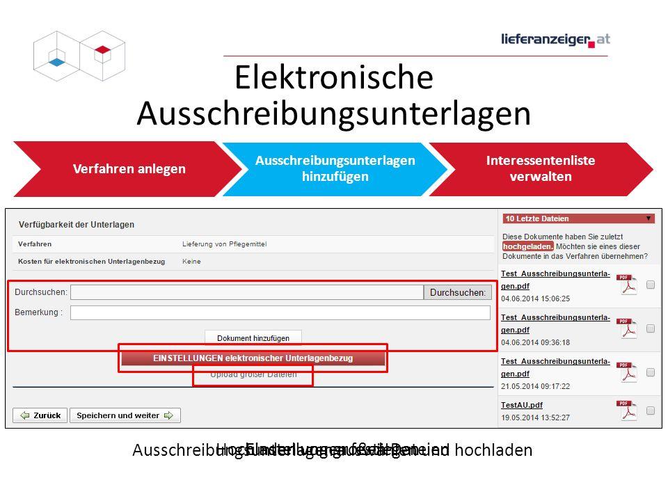 Elektronische Ausschreibungsunterlagen Verfahren anlegen Ausschreibungsunterlagen hinzufügen Interessentenliste verwalten Ausschreibungsunterlagen aus