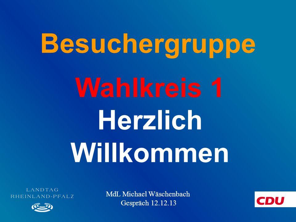 Besuchergruppe Wahlkreis 1 Herzlich Willkommen MdL Michael Wäschenbach Gespräch 12.12.13
