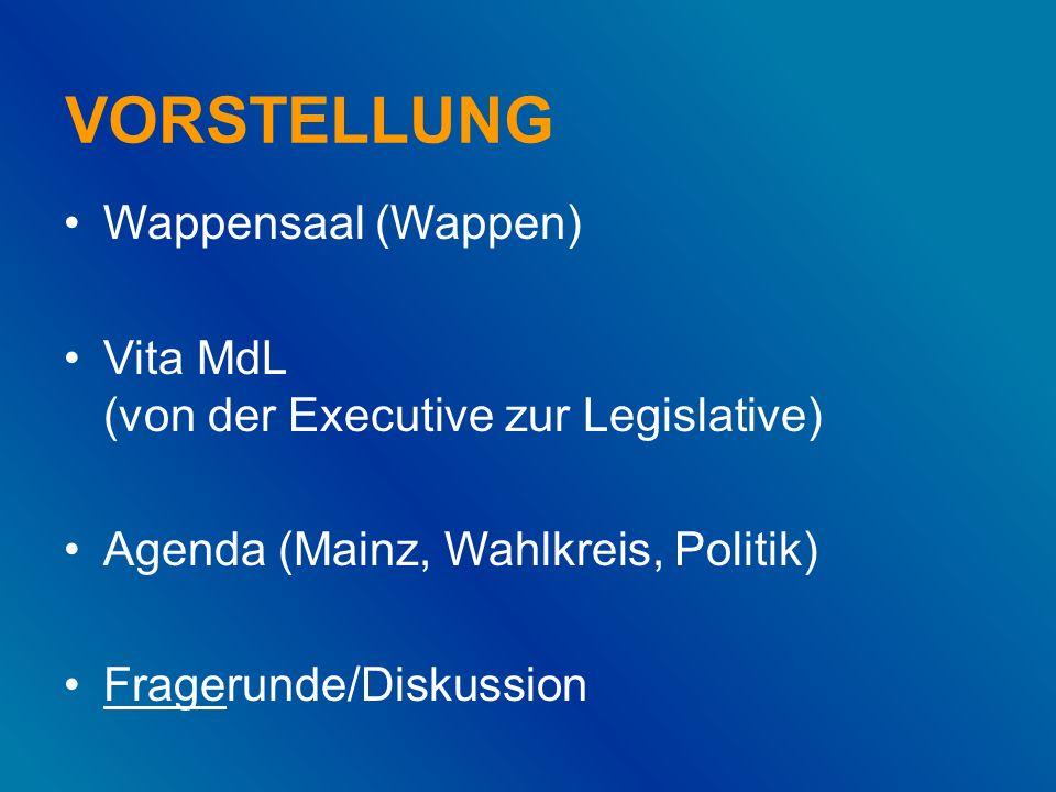 VORSTELLUNG Wappensaal (Wappen) Vita MdL (von der Executive zur Legislative) Agenda (Mainz, Wahlkreis, Politik) Fragerunde/Diskussion